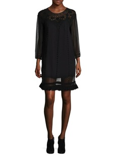 Joie Agatha Sheer Long Sleeve Dress