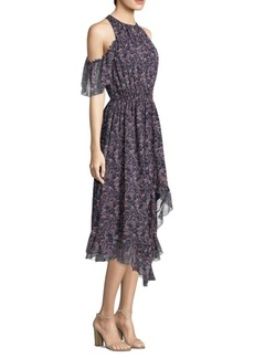 Joie Agnek Cold Shoulder Hi Lo Ruffle Print Dress