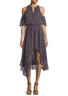 Joie Agnek Split-Neck Cold-Shoulder Printed Silk Dress