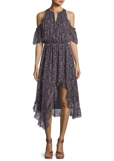Joie Agnek Split-Neck Cold-Shoulder Printed Silk Dress