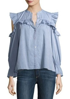 Joie Akari Cold-Shoulder Button-Front Chambray Top