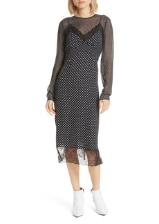 Joie Alamea Dot & Lace Midi Dress