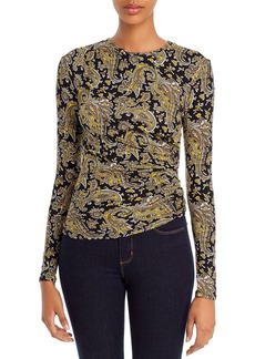 Joie Alaxandra Ruched Paisley Long-Sleeve Tee