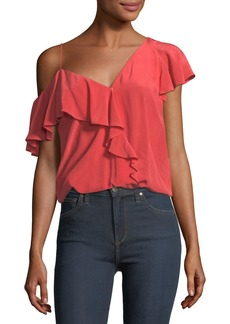 Joie Alcyoneus One-Shoulder Ruffled Silk Top