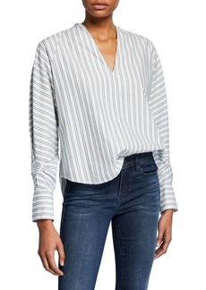 Joie Alessandrina Striped V-Neck Long-Sleeve Top