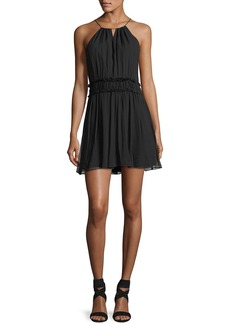 Joie Alithia Halter-Neck Sleeveless Pleated Silk Dress