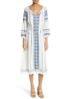 Joie Aliz Embroidered Midi Dress