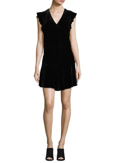 Joie Almarie V-Neck A-Line Velvet Dress