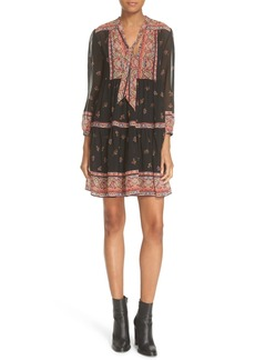 Joie 'Alpina' Print Silk Tie Neck Dress