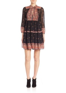 Joie Alpina Silk Paisley-Print Tie-Neck Dress