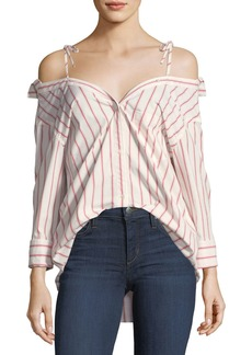 Joie Alvina Button-Down Striped Poplin Shirt