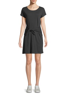 Joie Alyra Tie-Front Crewneck Tee Dress