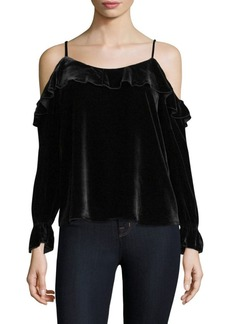 Joie Alyse Velvet Cold-Shoulder Blouse