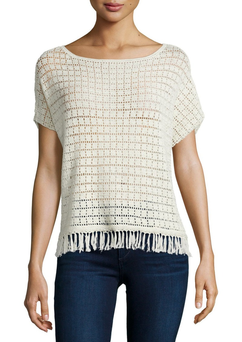 Joie Amal Textured Top with Fringe Trim