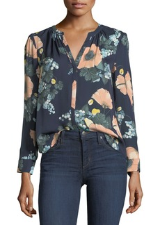 Joie Amarant Floral-Print Long-Sleeve Silk Blouse