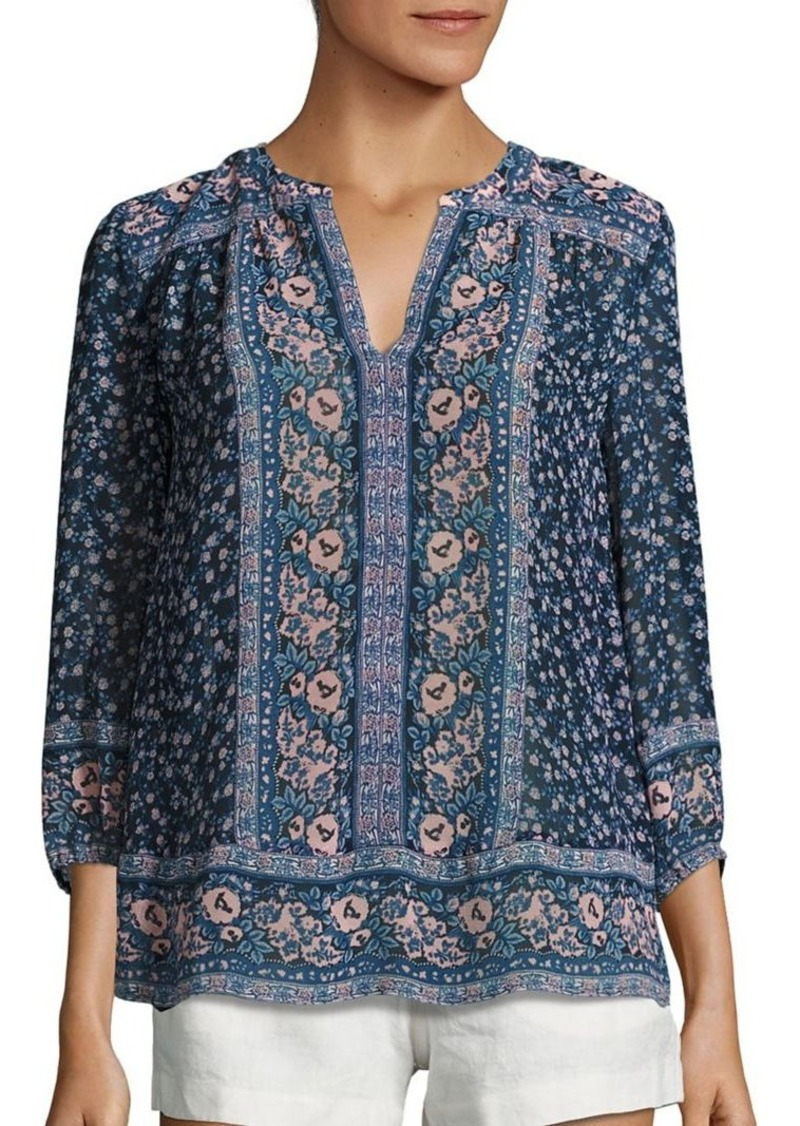 Joie Andala Floral-Print Silk Blouse