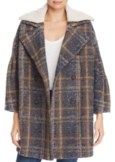Joie Angalina Double-Breasted Plaid Coat