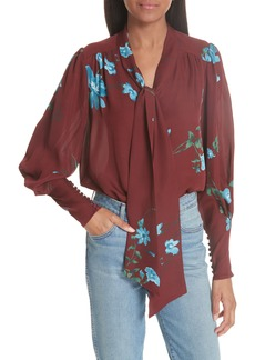 Joie Angeletta Tie Neck Floral Silk Blouse