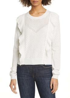 Joie Apollonia Ruffle Trim Pointelle Sweater
