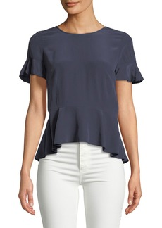 Joie Aquanetta Round-Neck Silk Peplum Top