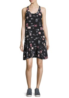 Joie Arianna Sleeveless Stamp-Print Shift Dress