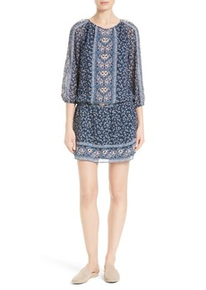 Joie Ariella Print Silk Drop Waist Dress