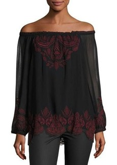 Joie Ariena Off-the-Shoulder Embroidered Blouse