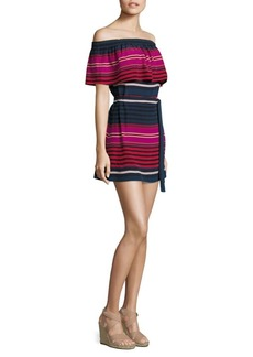 Joie Arla Striped Silk Off-The-Shoulder Dress
