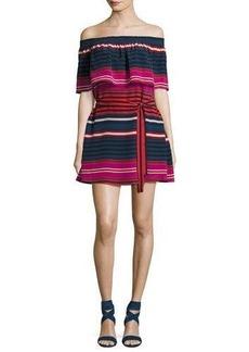 Joie Arla Striped Silk Off-the-Shoulder Mini Dress