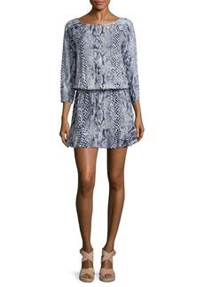 Joie Arryn Snakeskin-Print Blouson Dress