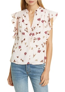 Joie Ashtina Floral Crepe Cap Sleeve Top