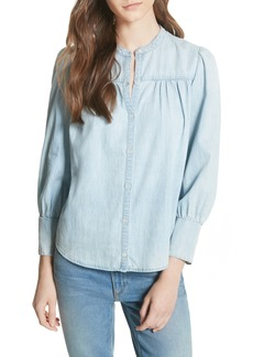Joie Aubrielle Silk Cotton Chambray Top