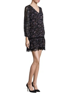 Joie Auggie Ikat Floral Lace Inset Dress