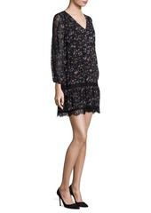Joie Auggie Ikat Floral Lace Inset Dress