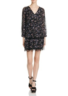 Joie Auggie Lace Trimmed Floral Silk Dress
