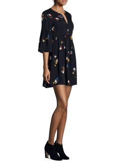 Avari Retro Bell-Sleeve Silk Mini Dress