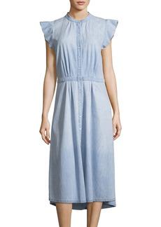 Joie Awel Sleeveless Button-Front Chambray Midi Dress