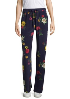 Awen Botanical Border Print Silk Pants
