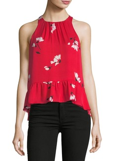 Joie Ayame Floral-Print Sleeveless Silk Top