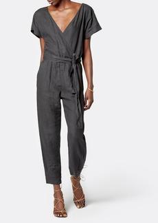 Joie Azita V-Neck Belted Linen Jumpsuit