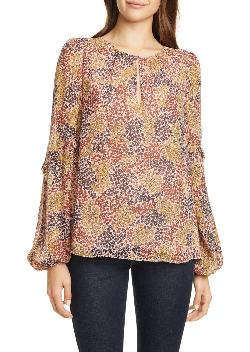 Joie Baltasar Floral Long Sleeve Silk Georgette Blouse