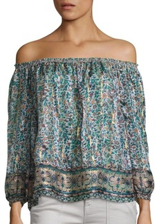 Joie Bamboo Silk Off-The-Shoulder Blouse