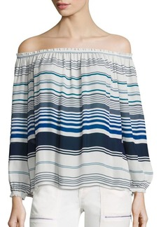 Joie Bamboo Stripe Printed Off-the-Shoulder Silk Blouse