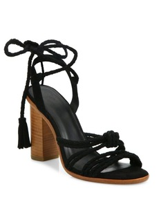 Joie Banji Lace-Up Suede Block Heel Sandals