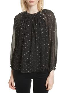 Joie Baylee B Ruffle Collar Metallic Dot Blouse