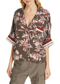 Joie Bayley Tropical Print Stripe Contrast Top
