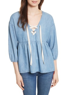 Joie Bealette Lace-Up Chambray Top