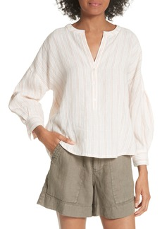 Joie Bekette Collarless Stripe Linen Blouse