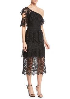 Joie Belisa One-Shoulder Lace Midi Dress