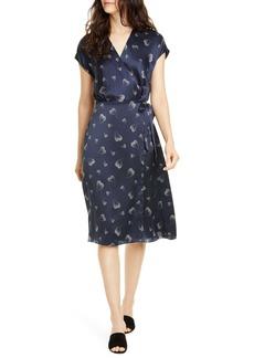 Joie Bethwyn Heart Print Wrap Silk Dress